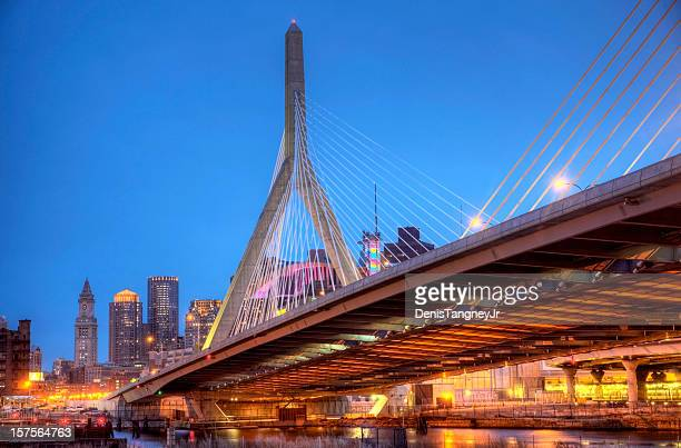 zakim bunker hill memorial bridge - boston stock pictures, royalty-free photos & images