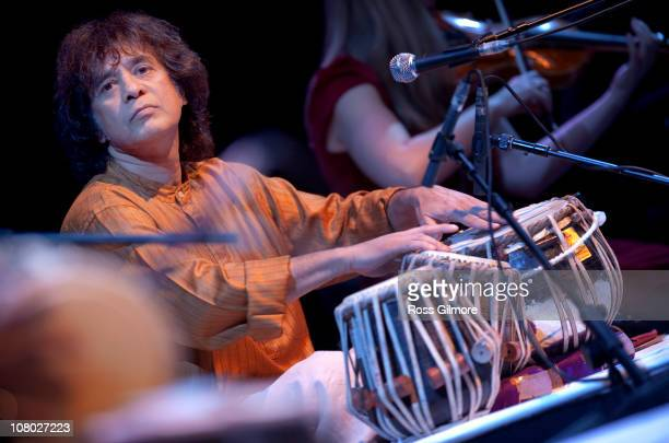 Zakir Hussain performs the opening night of Celtic Connections Festival at Glasgow Royal Concert Hall on January 13 2011 in Glasgow Scotland