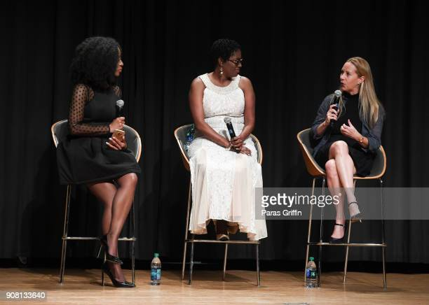 """Zakiya Larry, Antoinette Tuff and Tia Maggini onstage at """"Faith Under Fire: The Antoinette Tuff Story"""" red carpet screening at Woodruff Arts Center..."""