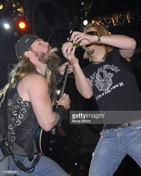 Zakk Wylde and Chad Kroeger of Nickelback during 2007 VH1 Rock Honors Rehearsals Day 1 at MGM Grand in Las Vegas Nevada United States