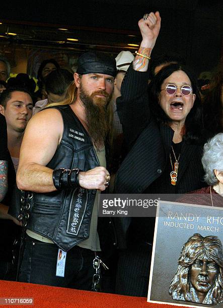 Zakk Wylde and Ozzy Osbourne during Guitarist Randy Rhoads Posthumously Inducted Into Hollywood's Rockwalk at The Rockwalk in Hollywood, California,...