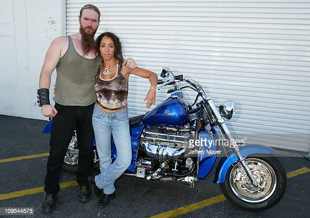 Zakk Wylde Dida Exec Dir of BADD before Ozzy Osbourne signs a 2003 Boss Hoss motorcycle for BADD Bikers Against Drunk Drivers to be given away in a...