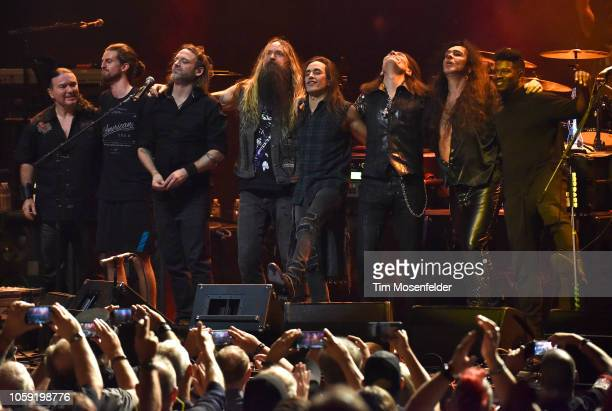 Zakk Wylde Nuno Bettencourt Steve Vai Yngwie Malmsteen and Tosin Abasi perform during Generation Axe at the Fox Theater on November 7 2018 in Oakland...