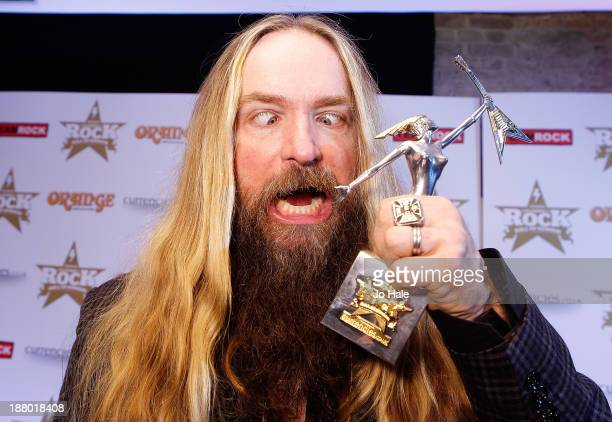 Zakk Wylde receives the Metal Guru Award at the Classic Rock Roll of Honour at The Roundhouse on November 14 2013 in London England