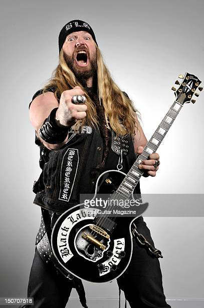 Zakk Wylde with a Gibson Black Label Society Les Paul Custom electric guitar at the Colston Hall Bristol February 23 2011