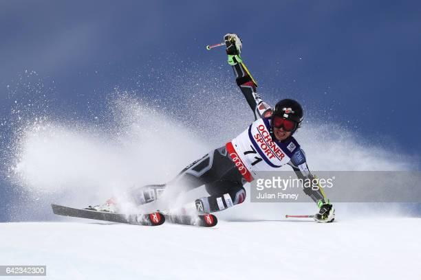 Zaks Gedra of Latvia competes in the Men's Giant Slalom during the FIS Alpine World Ski Championships on February 17 2017 in St Moritz Switzerland