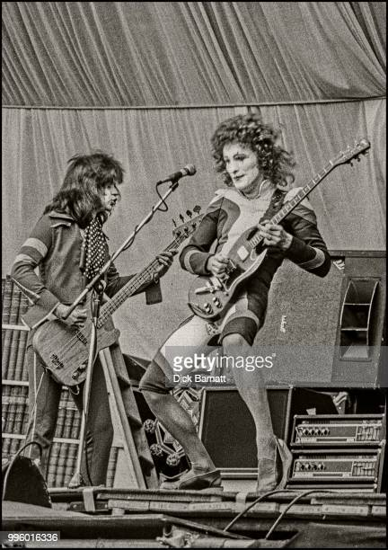 Zal Cleminson and Chris Glen of the Sensational Alex Harvey Band perform on stage at Stoke City Football Club, United Kingdom, 17th May 1975.