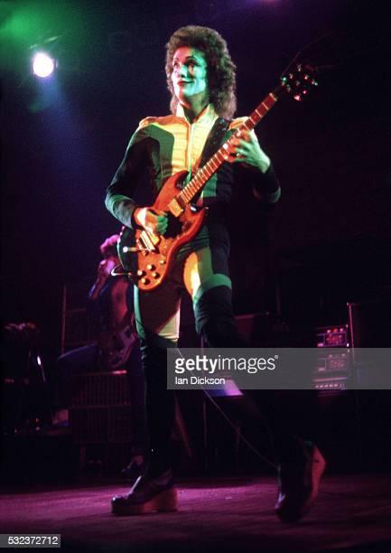 Zal Cleminson of Sensational Alex Harvey Band performing on stage, London, United Kingdom, 1975.