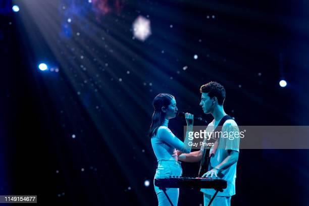 Zala Kralj Gasper Santl from Slovenia during the 64th annual Eurovision Song Contest held at Tel Aviv Fairgrounds on May 14 2019 in Tel Aviv Israel