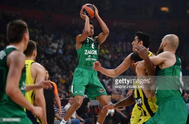 Zalgiris' Axel Toupane makes a shot during the first semifinal EuroLeague Final Four basketball match between Fenerbahçe and Zalgiris at The Stark...