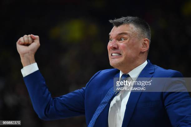 Zalgirs' Lithuanian head coach Sarunas Jasikevicius shouts from the touchline during the first semi-final EuroLeague Final Four basketball match...