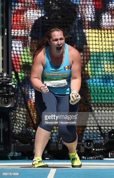 Zalina Marghieva of Moldova competes during the Women's Hammer Throw Final on Day 10 of the Rio 2016 Olympic Games at the Olympic Stadium on August...