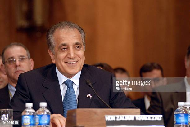 Zalmay Khalilzad the former US ambassador to Iraq gives an opening statement to the Senate Foreign Relations Committee during his confirmation...