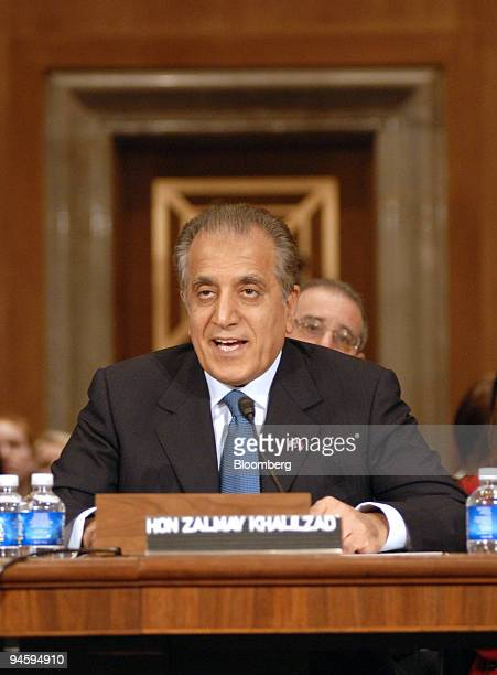 Zalmay Khalilzad the former US ambassador to Iraq testifies before the Senate Foreign Relations Committee during his confirmation hearing to be the...
