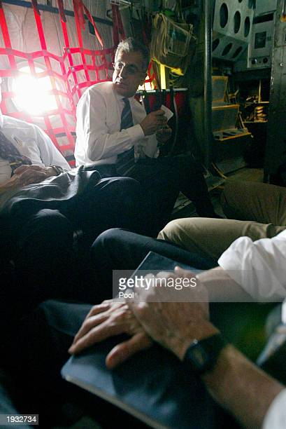 Zalmay Khalilzad White House special envoy to Iraq sits next to David Litt political advisor to US General Tommy Franks and Ryan Crocker deputy...
