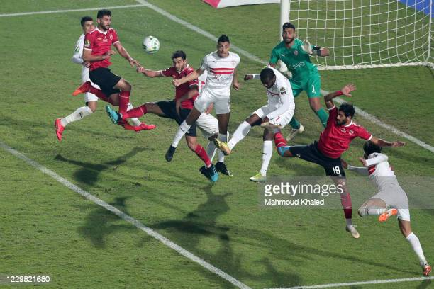 Zamalek players in action against of Al Ahly players during CAF Champions League Final between Zamalek and Al Ahly at Cairo stadium on November 27,...