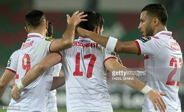 Zamalek Sporting Club's players celebrate after scoring a goal during the CAF Champions League semifinal between Wydad Athletic Club and Zamalek...