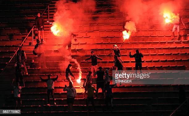 Zamalek supporters cheer during the CAF2016 Champions league match between Zamalek and Mamelodi Sundown at Lucas Moripe Stadium on July 27 2016 in...