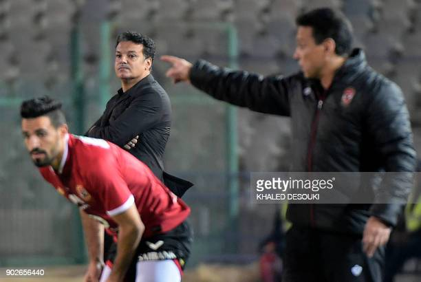 Zamalek's head coach Ehab Galal looks on during the Egyptian Premier League football match between AlAhly and Zamalek at the Cairo Stadium in the...