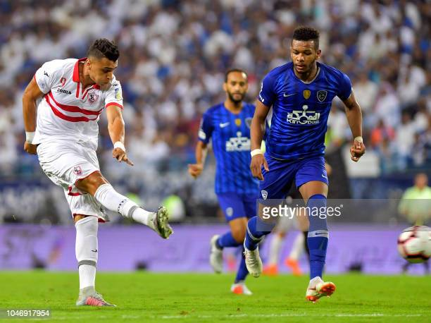 Zamalek's Omar AlSaid takes a shot during the first leg of the Saudi and Egypt super match between Saudi's Al Hilal and Egypt's Zamalek at the King...
