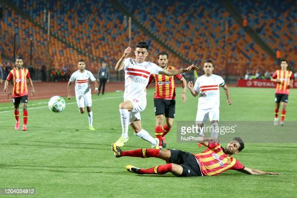 Zamalek's player Achraf Bencharki in action during the first leg of the CAF Champions League Quarterfinal football match Between Egypt's Zamalek and...