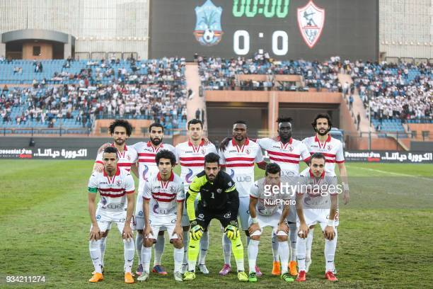 Zamalek's players before start the match between Zamalek SC vs Wolaita Dicha during African Confederation Cup 2018 in Cairo on March 18 2018