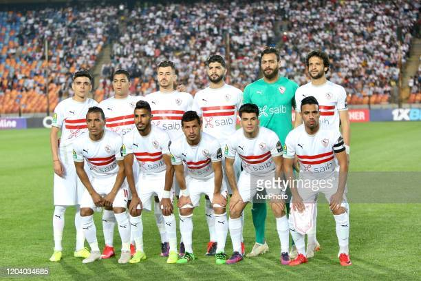 Zamalek's starting eleven pose for a group picture prior the first leg of the CAF Champions League Quarter-final football match Between Egypt's...