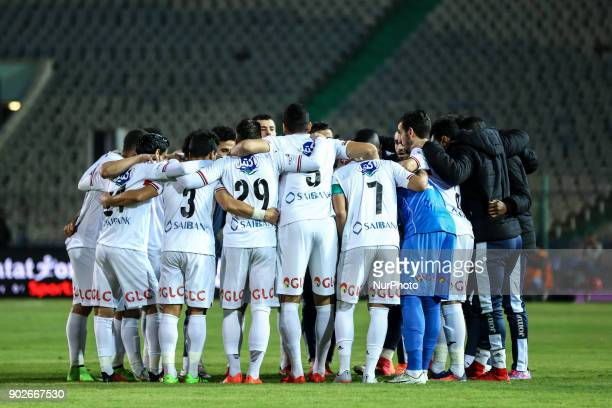 Zamalek's team pose for a team photo prior the Egypt Premier League Fixtures 17 match between Al Ahly and Zamalek at the Cairo Stadium in Egypt on...