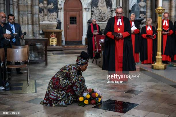 Zamaswazi DlaminiMandela granddaughter of Nelson Mandela lays a wreath by a memorial stone during a service to mark the centenary of the birth of the...