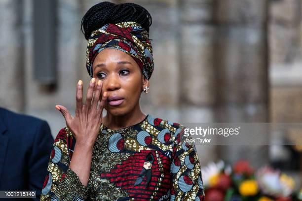 Zamaswazi DlaminiMandela granddaughter of Nelson Mandela wipes away tears as she attends a service to mark the centenary of the birth of the former...