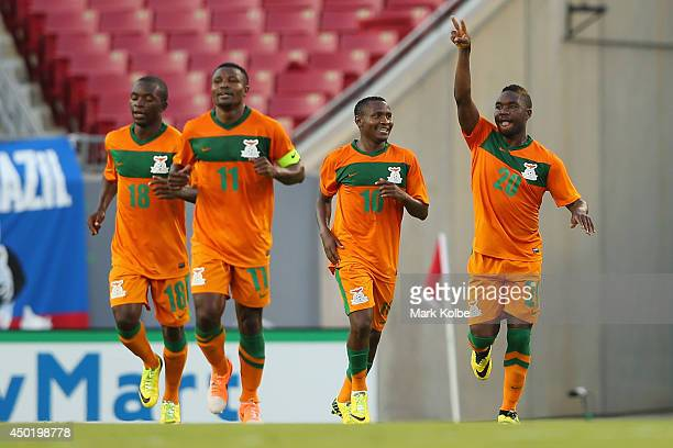 Zambia celebrate their second goal during the International Friendly Match between Japan and Zambia at Raymond James Stadium on June 6, 2014 in...