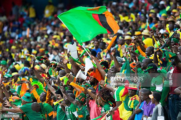 Zambia fans enjoy the atmosphere during the 2013 African Cup of Nations match between Zambia and Nigeria from Mbombela Stadium on January 25 2013 in...