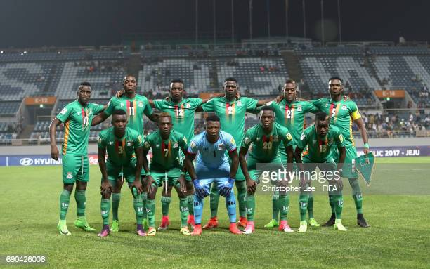 Zambia first eleven during the FIFA U20 World Cup Korea Republic 2017 Round of 16 match between Zambia and Germany at Jeju World Cup Stadium on May...