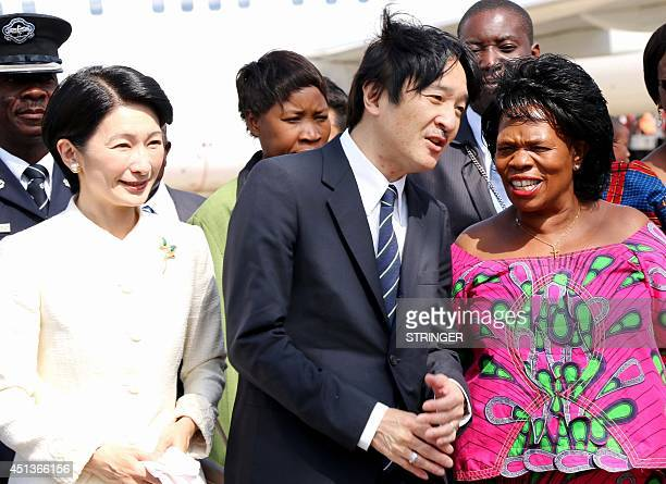 Zambian Chiefs and traditional affairs minister professor Nkandu Luo speaks with Japanese Imperial Highness Prince Akishino alongside Princess Kiko...