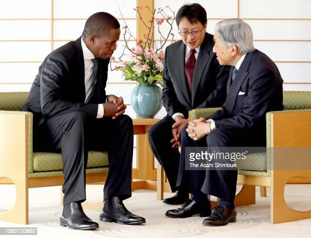 Zambian President Edgar Lungu and Emperor Akihito talk during their meeting at the Imperial Palace on December 19 2018 in Tokyo Japan