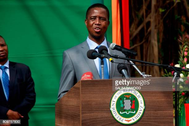 Zambian President Edgar Lungu gives a press briefing on July 6 2017 at the Zambian State House in Lusaka Zambian President Edgar Lungu on Thursday...