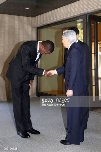 Zambian President Edgar Lungu is seen off by Emperor Akihito after their meeting at the Imperial Palace on December 19 2018 in Tokyo Japan