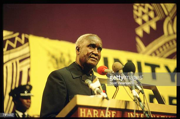 Zambian president Kenneth Kaunda addresses an audience January 23 1990 near Jamba Angola The National Union for the Total Independence of Angola and...