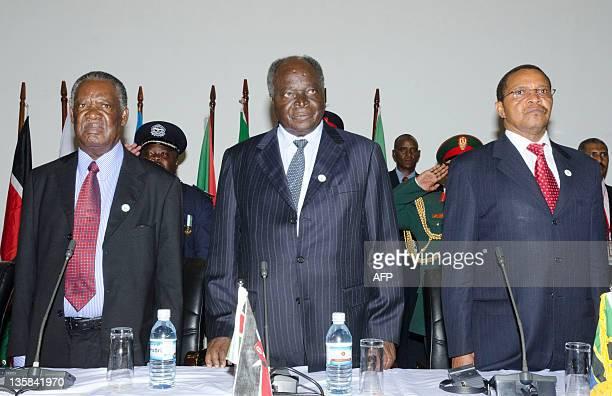 Zambian President Michael Sata Kenyan President Mwai Kibaki and Tanzanian President Jakaya Kikwete attend the International Conference of the Great...