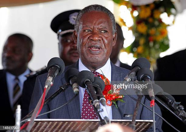 Zambian President Michael Sata speaks on May 29 2012 in Victoria Falls during the signing ceremony of the trilateral hosting agreement for the 2013...