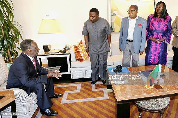 Zambian President Michael Sata thanks his Cabinet ministers for representing him at the United Nations General Assembly in New York on September 27...