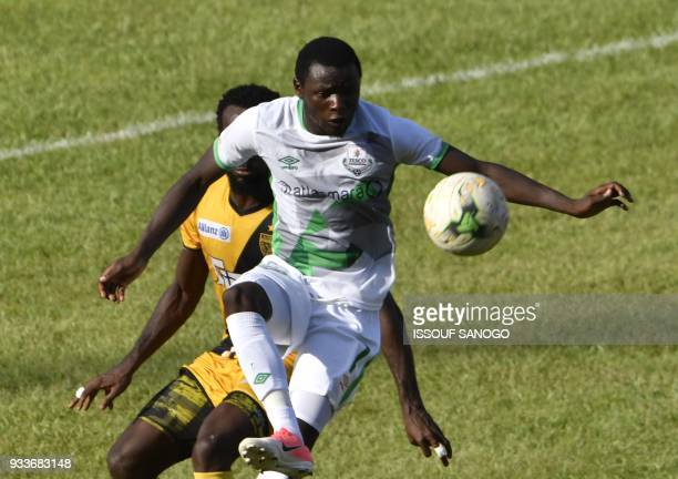 Zambia's Lazarous Kambole controls the ball during the Confederation of African Football Champions League match between Asec d'Abidjan and Zesco...