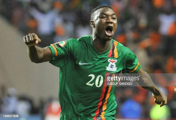 Zambia's national football team player Emmanuel Mayuka celebrates victory against Ivory Coast at the stade de l'amitie in Libreville on February 12...