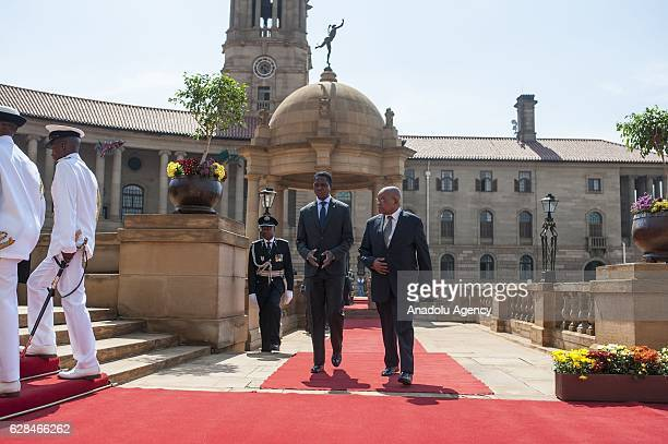 Zambia's President Edgar Lungu is welcomed with official ceremony by South African President Jacob Zuma at Presidential Palace in Pretoria South...