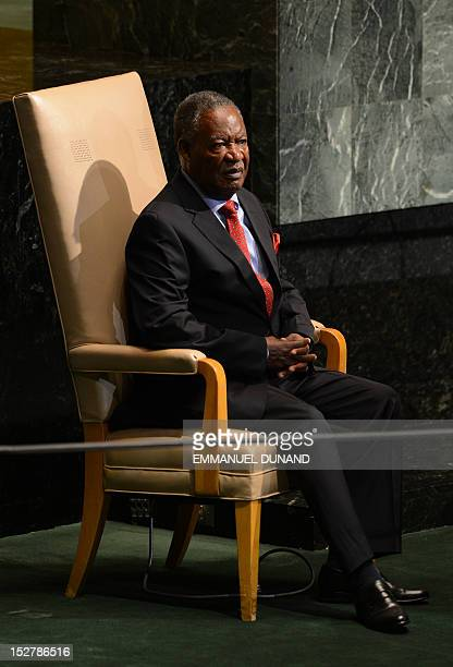 Zambia's President Michael Chilufya Sata awaits to address the 67th UN General Assembly at the United Nations headquarters in New York September 26...