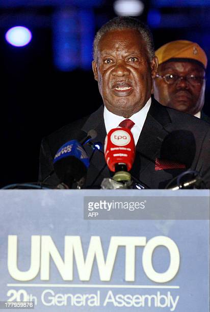 Zambias President Michael Sata addresses United Nations World Tourism Organization delegates at Victoria Fall hotel on August 25 2013 during the...