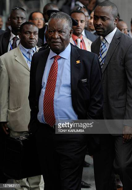 Zambia's President Michael Sata arrives at the African Union headquarters in the Ethiopian capital Addis Ababa on January 30 2012 Meanwhile South...