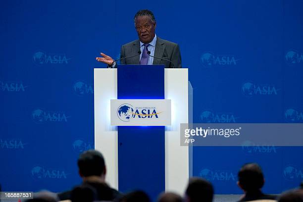 Zambia's President Michael Sata speaks at the opening ceremony of the annual the Boao Forum for Asia in Boao in southern China's Hainan province on...