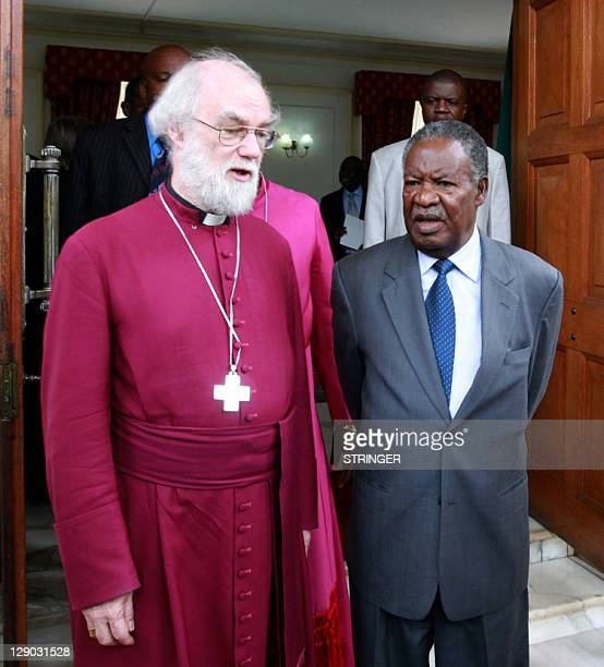 Zambia's President Michael Sata talks to Rowan Williams Archbishop of Canterbury at State House in Lusaka on October 11 2011 after a meeting Williams...