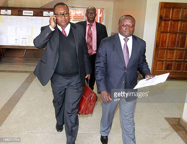 Zambia's Solicitor General Musa Mwenye leaves on May 24 2012 the Lusaka High Court after Judge Fulgence Chisanga sustained the stay on the tribunal...